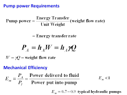 9 pump power requirements