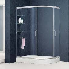 semi frameless sliding bathroom glass shower doors with glass shower shelf 36x48 in