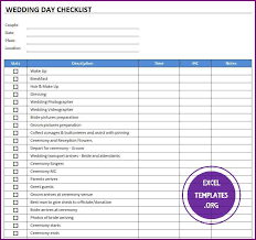 Wedding Day Checklist Template Exceltemplates Org