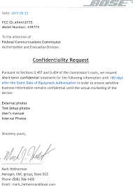 bose 418775. page 1 of 418775 wireless speaker cover letter - confidentiality request short term bose a
