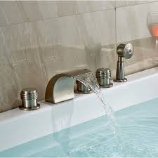 three handle bathtub faucet brushed nickel waterfall tub faucet handheld shower three handle bathtub faucet