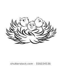 bird clipart outline. Delighful Clipart Three Baby Birds In Nest Black Outlinevector Drawing For Bird Clipart Outline