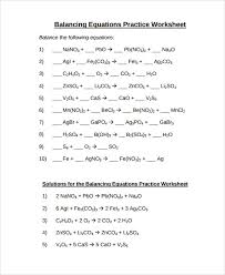balancing equations practice worksheet answers 1409825