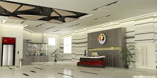 Modern Lobby Interior Design with White Ceiling and Grey Wall Color also  Fantastic Decoration Idea