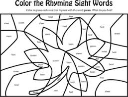 Small Picture Learn Rhyming Words Green Worksheet Educationcom