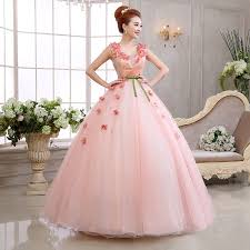 light pink princess ball gown wedding dress with v neck flowers