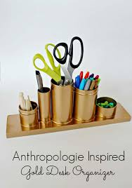 diy office desk accessories. Fun DIY Ideas For Your Desk - Gold Pencil Holder Cubicles, Teens Diy Office Accessories