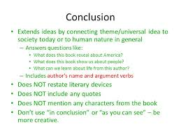 writing the literary analysis essay ppt video online  conclusion extends ideas by connecting theme universal idea to society today or to human nature