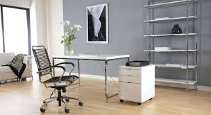 modern home office designs. Decorations : Chic Modern Home Office Design Ideas With Rectangle White Laminated Chair Also Black Cozy Stainless Steel Work Designs