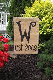 Small Picture Burlap Garden Flag with Monogrammed Initial and Year Burlap