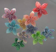 Paper Flower Mobiles Whimsical Rainbow Origami Paper Flower Baby Mobile