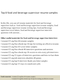 Supervisor Resume Sample Free Best Of Top 24 Food And Beverage Supervisor Resume Samples