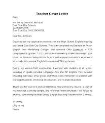 Cover Letter Example For Teachers Cover Letter Example For Teachers