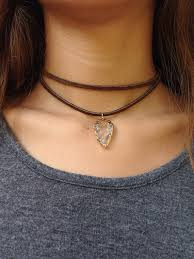 handmade suede chocolate brown leather with arrowhead crystal quartz pendant double wrap choker necklace
