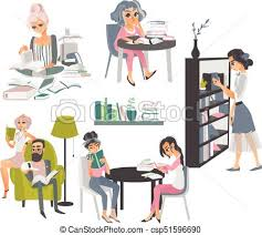 set of people reading books in library csp51596690