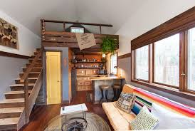 tiny house blog. Tiny House With Kitchen Under Loft Stairs; Wooden And Rustic Aesthetic. Blog