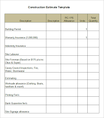 construction estimate template format