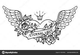 Tetování Srdce S Křídly Stuha Růže A Koruny černobílé Ilustrace