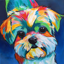 shih tzu art dog art shih tzu dog gifts colorful dog painting pet portrait mod