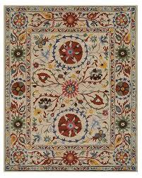 area rug hand tufted wool suzani rug 8 9 by 11 9 ivory nashville tn