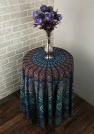 rajrang blue mandala bohemian cotton printed round table cloth size d 70 inch