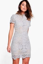 Boutique Sara Crochet Lace Bodycon Dress Crochet Lace Boohoo