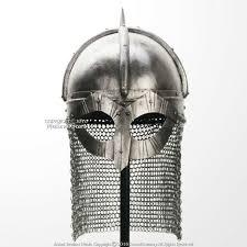 functional viking gjermundbu helmet 16g steel with chainmail coif leather liner