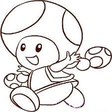 Super Mario Bros Printables Mario Toad Outline Coloring Pages Of