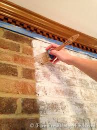 how to whitewash brick with chalk type paint farm fresh vintage finds fireplace today