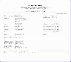 H O M E S Contact Management System Sample Report Contact