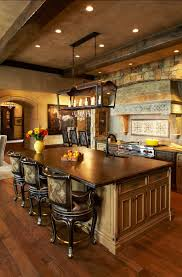 unique design of rustic kitchen lighting above bar table and chair