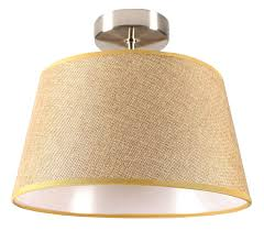 Rv Wall Light Fixtures Facon 12 Inch Rv Led Semi Flush Ceiling Dome Light With 3 Led Bulbs Fabric Reading Light Fixture Brown Burlap With 3200k Soft Light 12v Dc Interior