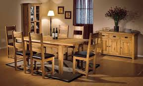 Hermosa Kensington Dining Table With 6 Chairs With Clear Lacquer Solid Oak Dining Room Table