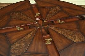 dining table leaf hardware: half way opened or closed the leaves are tucked away here with center of table