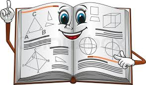 smiling open textbook cartoon character pointing on a page with geometric shapes suitable for education concept or mathematic lessons design vector
