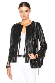 image 1 of theperfext april fringe leather jacket in black