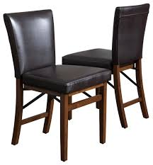 rosalynn brown leather folding dining chairs set of 2