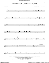 Tenor Sax Chart Denver Take Me Home Country Roads Sheet Music For Tenor Saxophone Solo