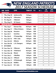 New England Patriots Football Schedule 2017 Nfl Football Schedule