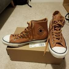 converse chuck taylor s brown leather high 0