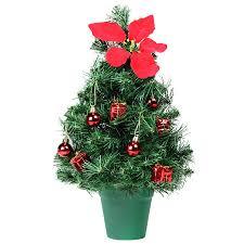 Deko Tannenbaum Grün Für Tisch Rot Geschmückt Mit Weihnachtsstern