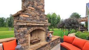 custom stone veneer outdoor fireplace design cleveland