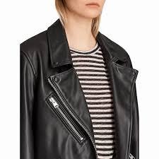 email to a friend allsaints oversized leather biker short long sleeve jacket black