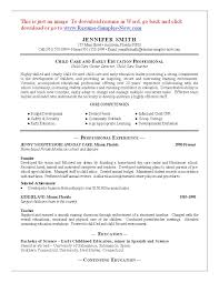 Resume Templates Child Caregiver Examples Day Care Director Center