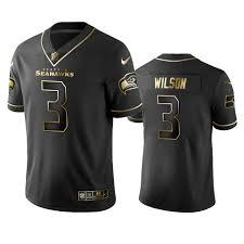 Seahawks Commercial Untouchable Edition Seattle Wilson - Nfl 3 Golden 100 Limited Vapor Men's Jersey Black Russell