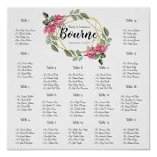 Pink Roses Wedding Seating Chart 17 Tables