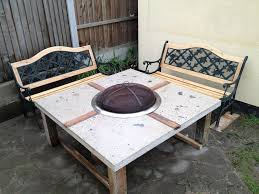 ... Astounding Outdoor Kitchen Decoration With Fire Pit Dining Table : Fine  DIY Concrete Fire Pit Dining ...