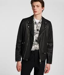 mens milo leather biker jacket black image 1