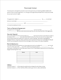Roommate Agreement Contracts Roommate Agreement Contract Templates At