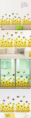 Sunflower Home Decor Warm Romantic Sunflower Skirting Line Diy Removable Wall Stickers